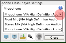 Select microphone in Flash settings
